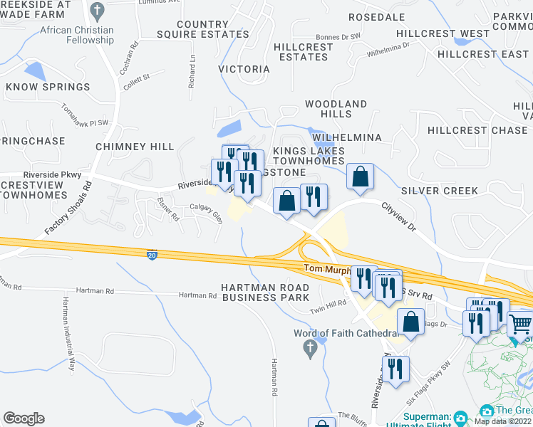 map of restaurants, bars, coffee shops, grocery stores, and more near 320 6 Flags Drive in Austell