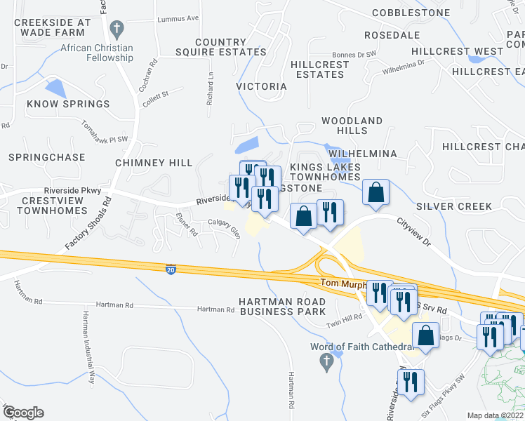 map of restaurants, bars, coffee shops, grocery stores, and more near 383-385 6 Flags Drive in Austell