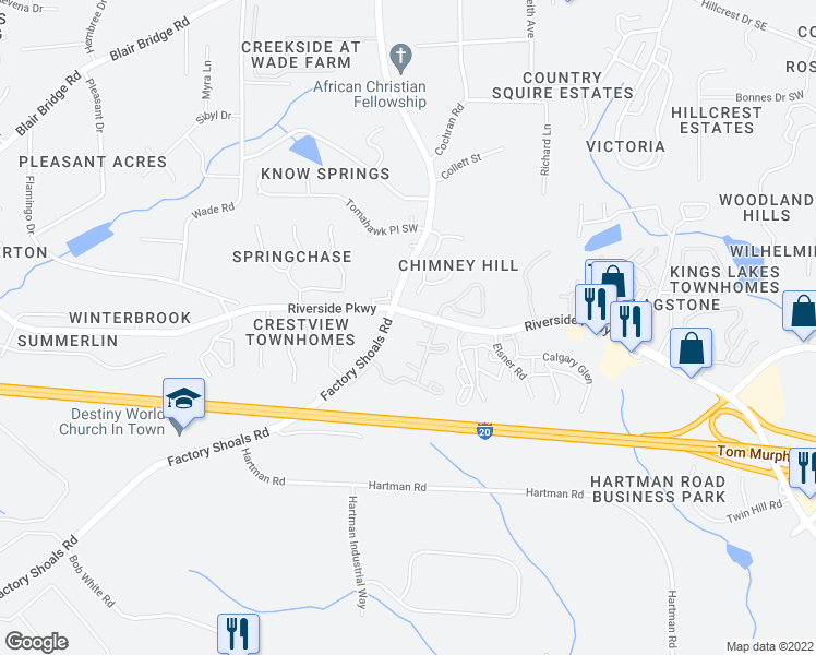 map of restaurants, bars, coffee shops, grocery stores, and more near 668-686 6 Flags Drive in Austell