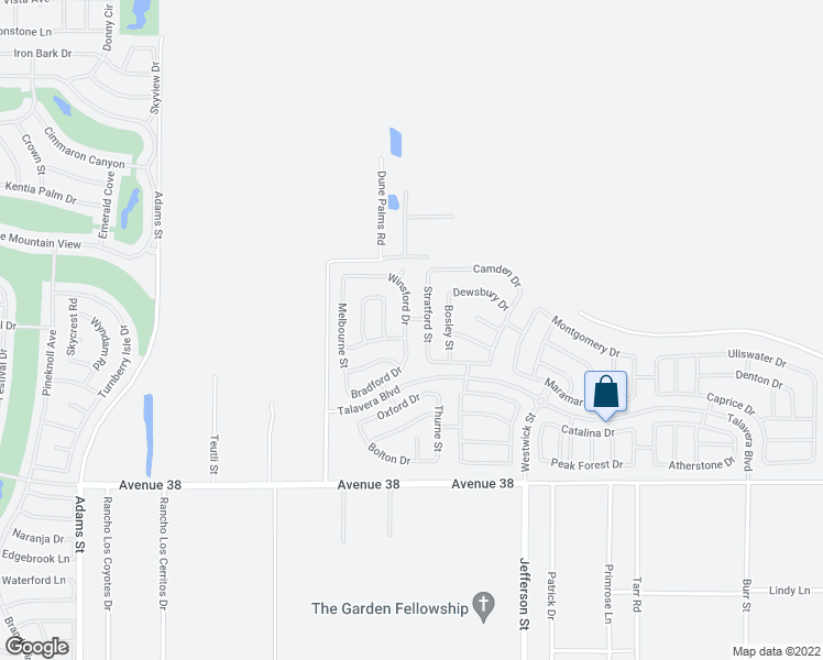 map of restaurants, bars, coffee shops, grocery stores, and more near 37324 Bradford Dr in Indio