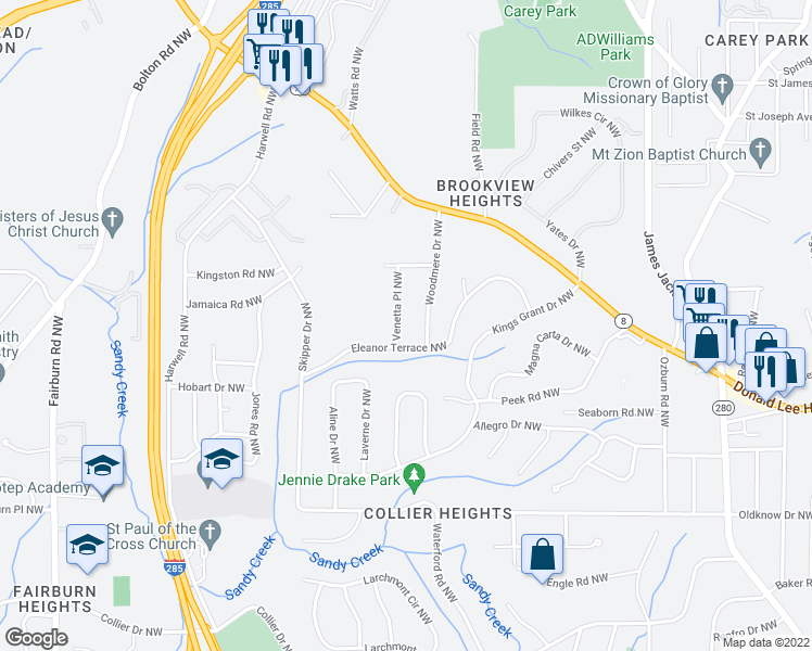 map of restaurants, bars, coffee shops, grocery stores, and more near 866 Woodmere Dr NW in Atlanta