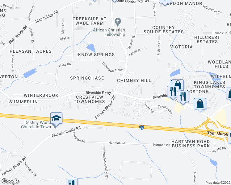 map of restaurants, bars, coffee shops, grocery stores, and more near Factory Shoals Rd & 6 Flags Dr SW in Austell
