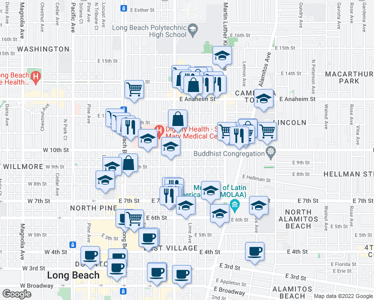 map of restaurants, bars, coffee shops, grocery stores, and more near E 10th St & Lime Ave in Long Beach