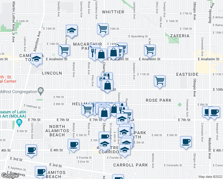map of restaurants, bars, coffee shops, grocery stores, and more near E 10th St & St Louis Ave in Long Beach