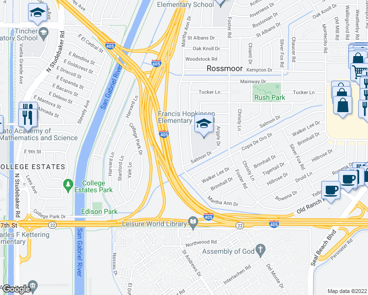 map of restaurants, bars, coffee shops, grocery stores, and more near 12602 Martha Ann Dr in Los Alamitos