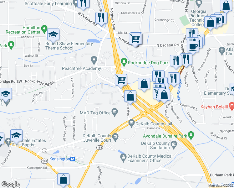 map of restaurants, bars, coffee shops, grocery stores, and more near 260 Northern Avenue in Avondale Estates