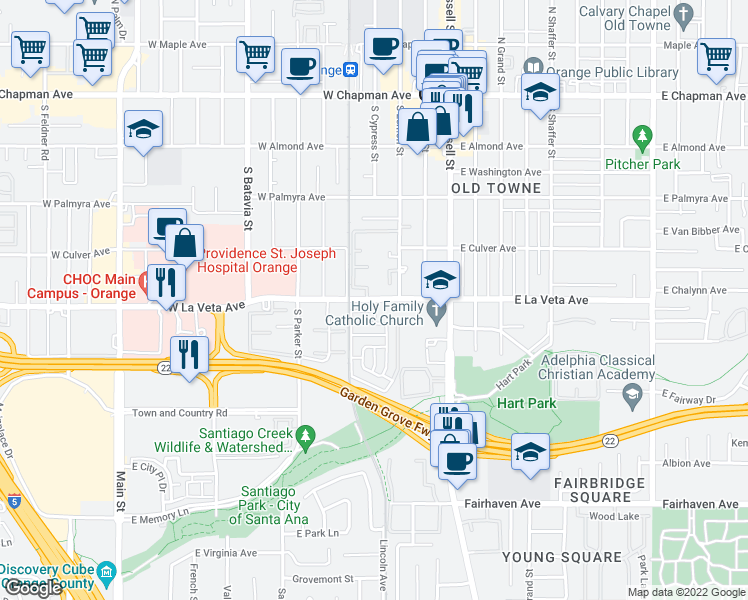 map of restaurants, bars, coffee shops, grocery stores, and more near 501-549 South Fashion Park Street in Orange