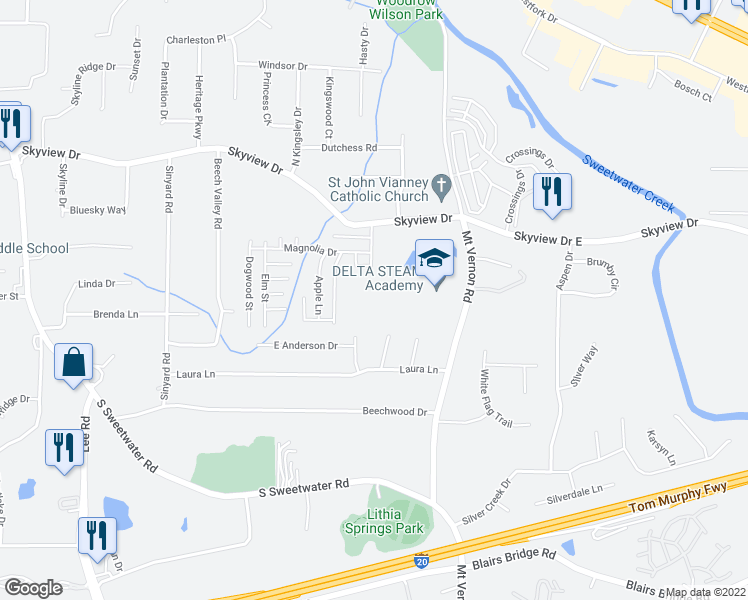 map of restaurants, bars, coffee shops, grocery stores, and more near 7207 Lorene Lane in Lithia Springs