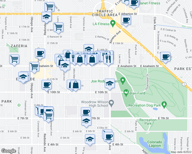 map of restaurants, bars, coffee shops, grocery stores, and more near 1105 Roswell Avenue in Long Beach