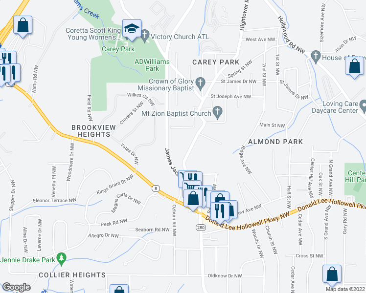 map of restaurants, bars, coffee shops, grocery stores, and more near 954 Hightower Rd NW in Atlanta