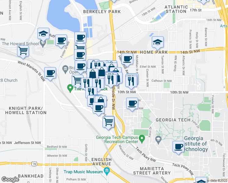 map of restaurants, bars, coffee shops, grocery stores, and more near 612-630 10th Street Northwest in Atlanta