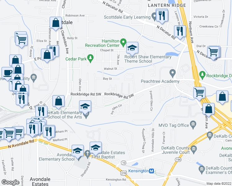 map of restaurants, bars, coffee shops, grocery stores, and more near 526 Cob