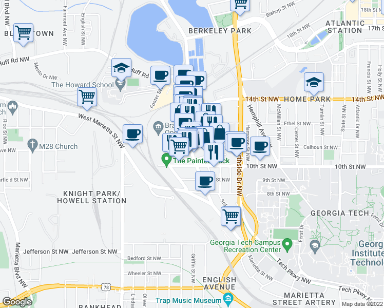 map of restaurants, bars, coffee shops, grocery stores, and more near 1016 Howell Mill Rd in Atlanta