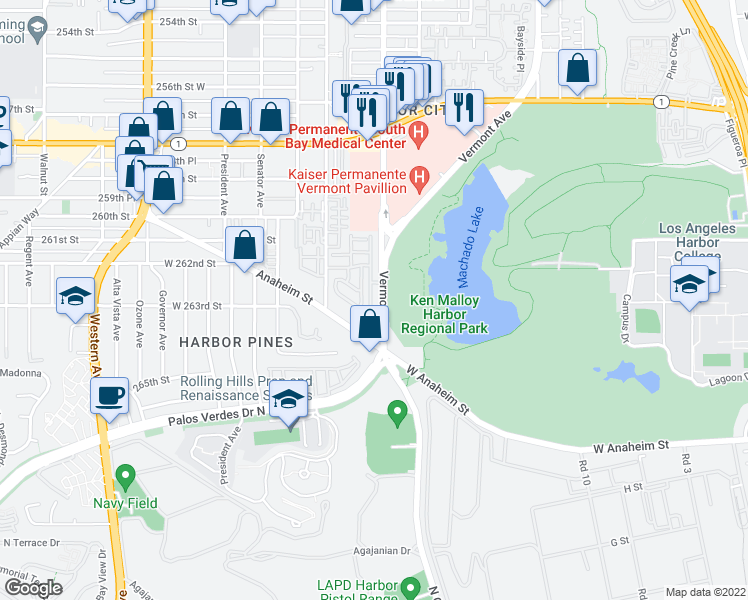 map of restaurants, bars, coffee shops, grocery stores, and more near 26201 Vermont Ave in Los Angeles