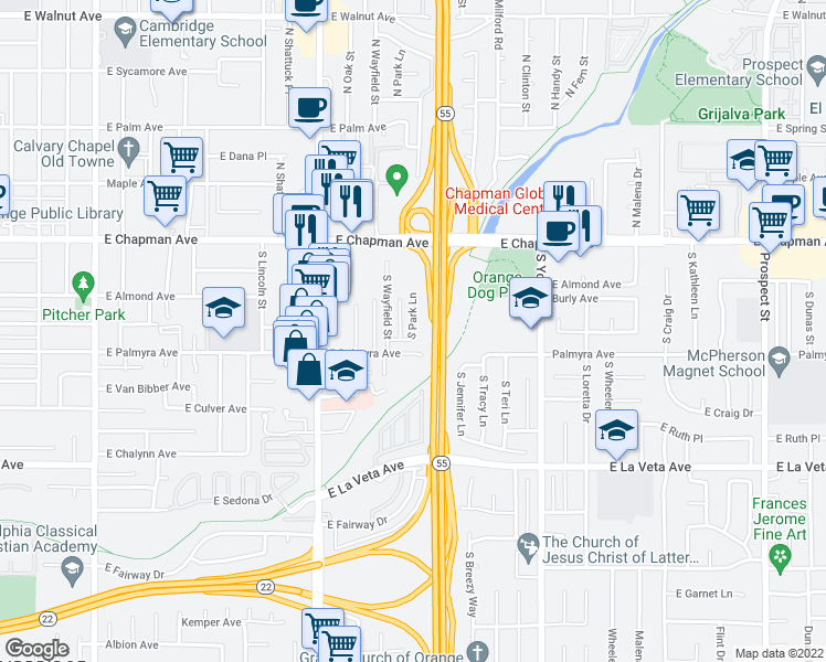 map of restaurants, bars, coffee shops, grocery stores, and more near 261 S Park Ln in Orange