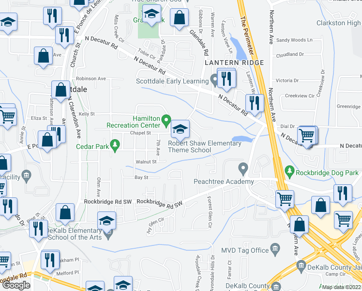 map of restaurants, bars, coffee shops, grocery stores, and more near 385 Glendale Road in Scottdale