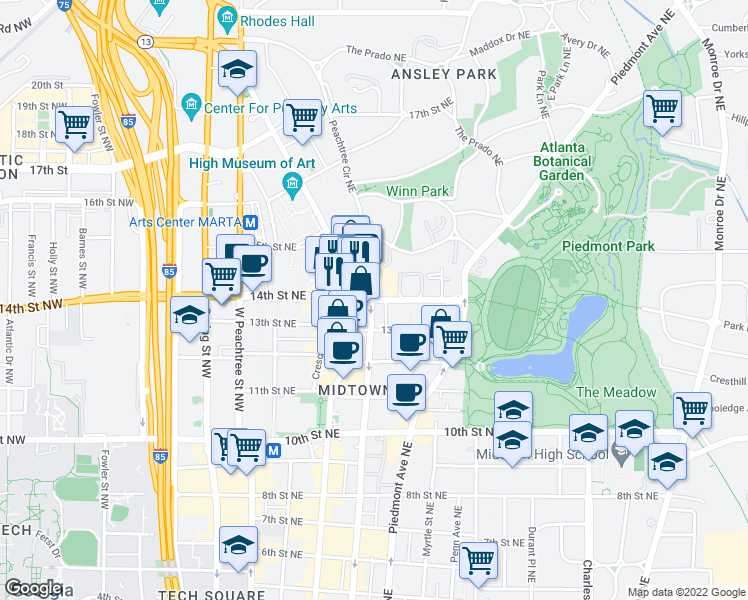 map of restaurants, bars, coffee shops, grocery stores, and more near 222 14th St NE in Atlanta