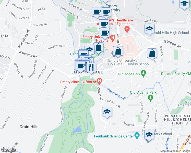 map of restaurants, bars, coffee shops, grocery stores, and more near in Druid Hills
