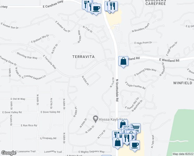 map of restaurants, bars, coffee shops, grocery stores, and more near 7064 East Eagle Feather Road in Scottsdale