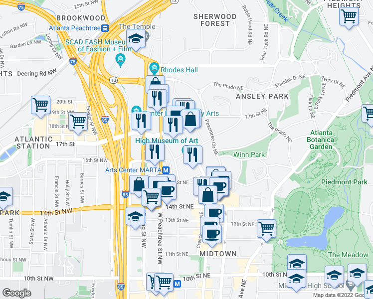 map of restaurants, bars, coffee shops, grocery stores, and more near 33 16th St NE in Atlanta