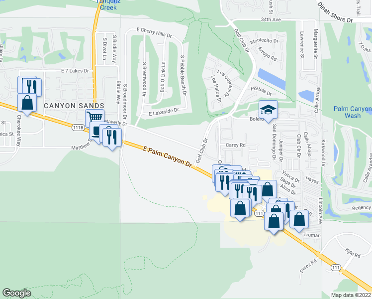 map of restaurants, bars, coffee shops, grocery stores, and more near 5301 East Waverly Drive in Palm Springs
