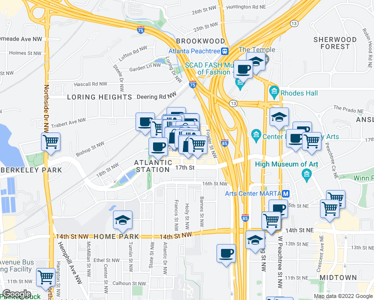 map of restaurants, bars, coffee shops, grocery stores, and more near 17th 1/2 Street Northwest in Atlanta