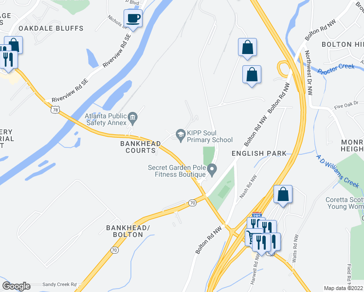 map of restaurants, bars, coffee shops, grocery stores, and more near 3400 Maynard Ct NW in Atlanta