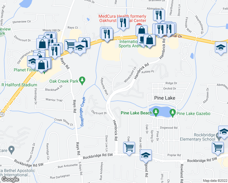 map of restaurants, bars, coffee shops, grocery stores, and more near 500-592 Windchase Ln in Stone Mountain