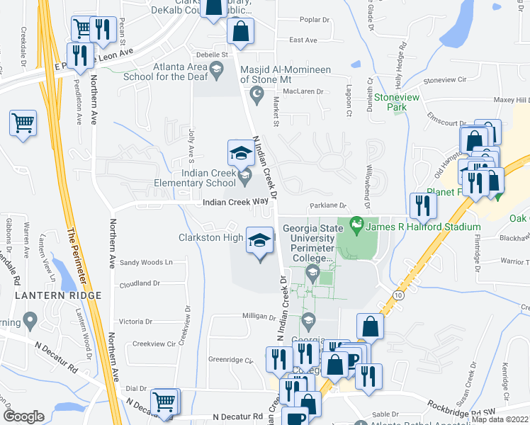 map of restaurants, bars, coffee shops, grocery stores, and more near 3679-3699 Indian Creek Way in Clarkston