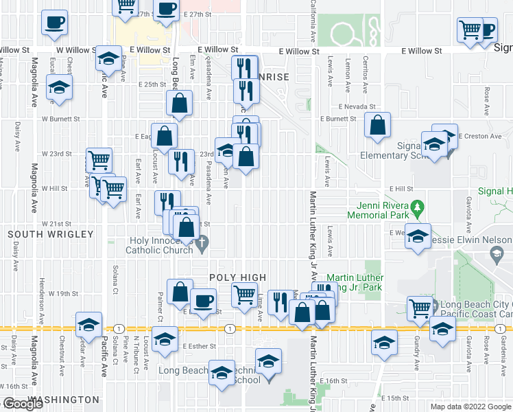 map of restaurants, bars, coffee shops, grocery stores, and more near 2149 Lime Avenue in Long Beach