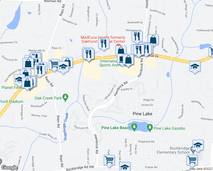 map of restaurants, bars, coffee shops, grocery stores, and more near 4353 Thunderfork Lane in Stone Mountain