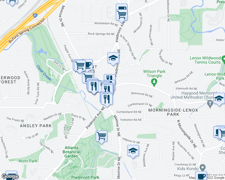 map of restaurants, bars, coffee shops, grocery stores, and more near 596 E Morningside Drive Northeast in Atlanta