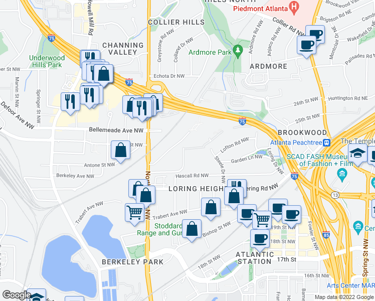 map of restaurants, bars, coffee shops, grocery stores, and more near 499 Northside Cir NW in Atlanta