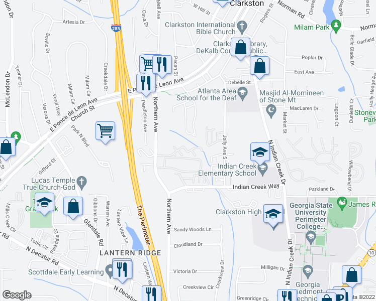 map of restaurants, bars, coffee shops, grocery stores, and more near 912 Glynn Oaks Drive in Clarkston