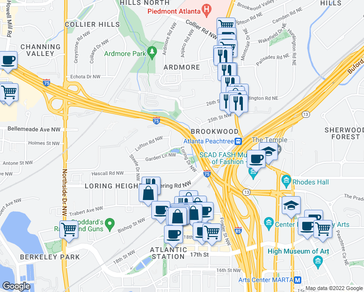 map of restaurants, bars, coffee shops, grocery stores, and more near 215 N Garden Lane Northwest in Atlanta