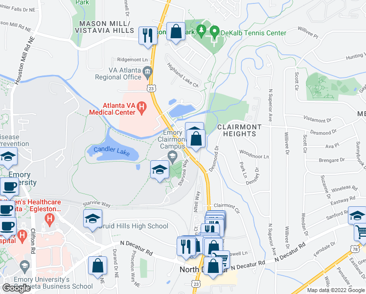 map of restaurants, bars, coffee shops, grocery stores, and more near 520-984 Carlyle Lake in Decatur