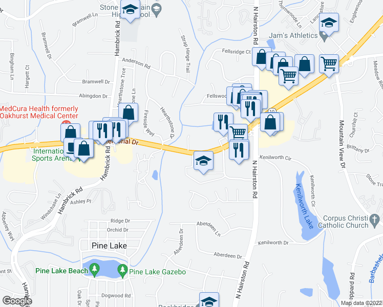 map of restaurants, bars, coffee shops, grocery stores, and more near 5823 Memorial Drive in