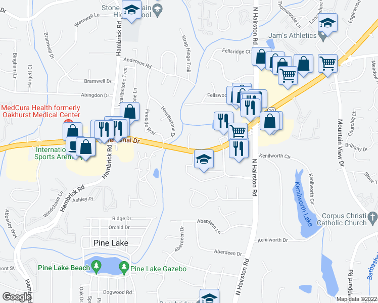 map of restaurants, bars, coffee shops, grocery stores, and more near 5823 Mem