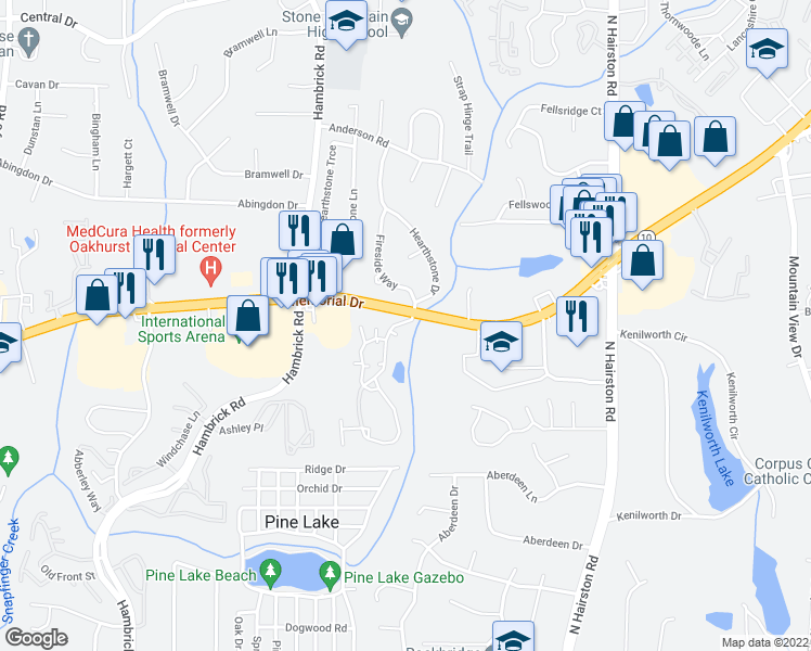 map of restaurants, bars, coffee shops, grocery stores, and more near 90-1748 Summit Creek Drive in Stone Mountain