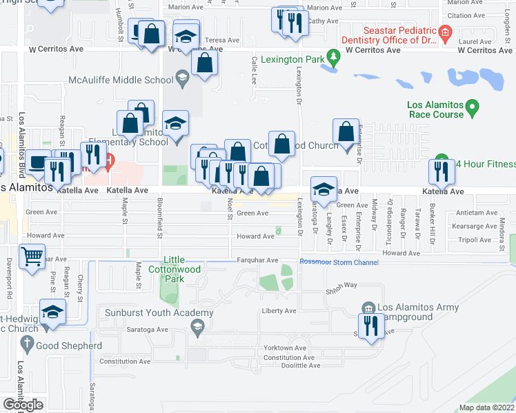 map of restaurants, bars, coffee shops, grocery stores, and more near 4331 Green Avenue in Los Alamitos