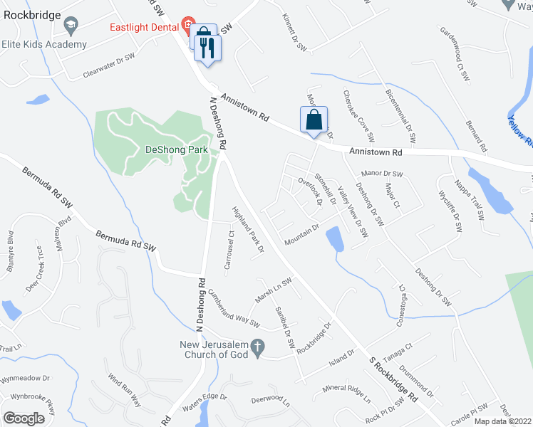 map of restaurants, bars, coffee shops, grocery stores, and more near 198-232 Mountain Drive in Stone Mountain