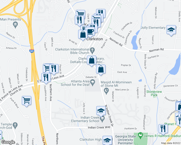 map of restaurants, bars, coffee shops, grocery stores, and more near 3628 Debelle Street in Clarkston