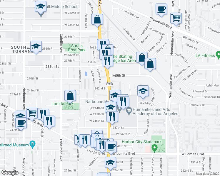 map of restaurants, bars, coffee shops, grocery stores, and more near 24140 South Western Avenue in Los Angeles