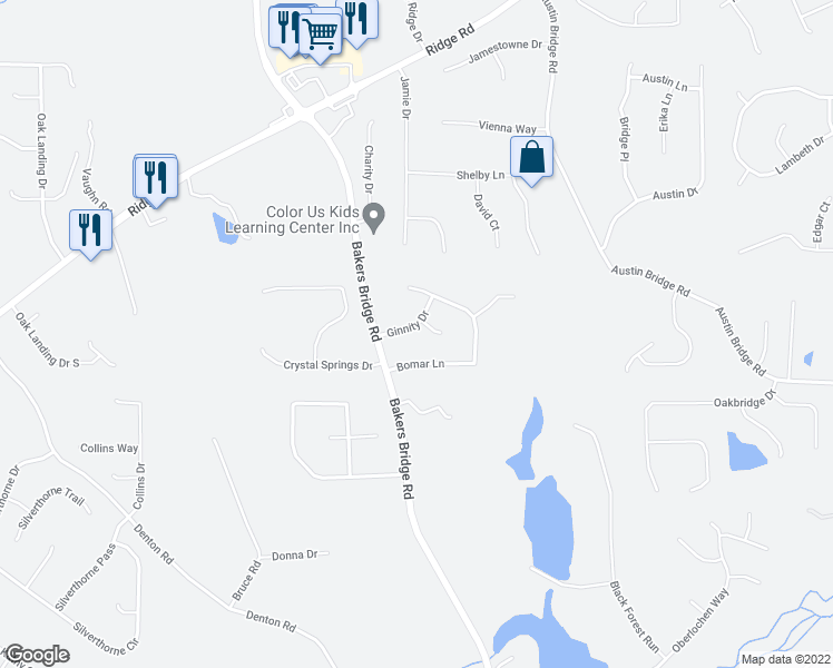 map of restaurants, bars, coffee shops, grocery stores, and more near 36 Sonja Walk in Douglasville