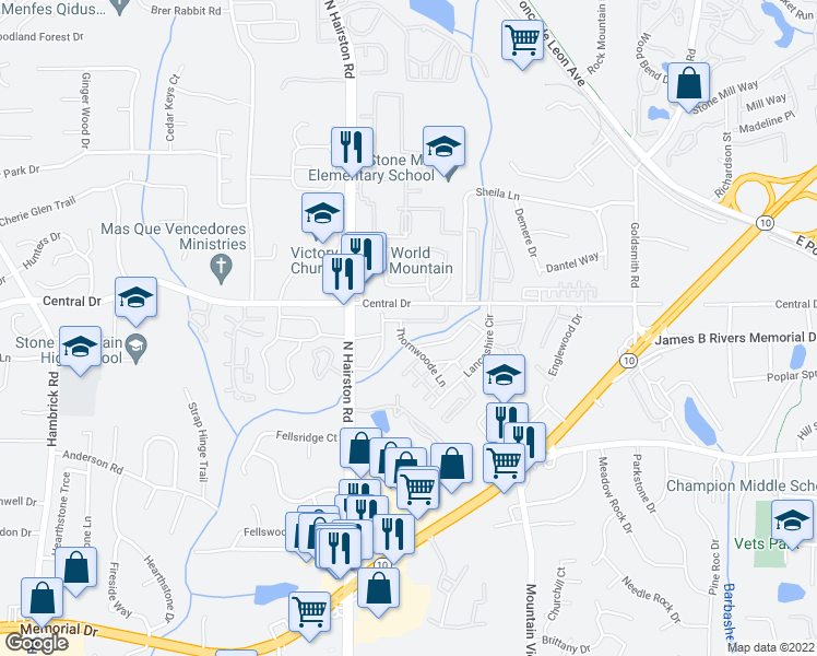 map of restaurants, bars, coffee shops, grocery stores, and more near 4801-4871 Central Drive in Stone Mountain