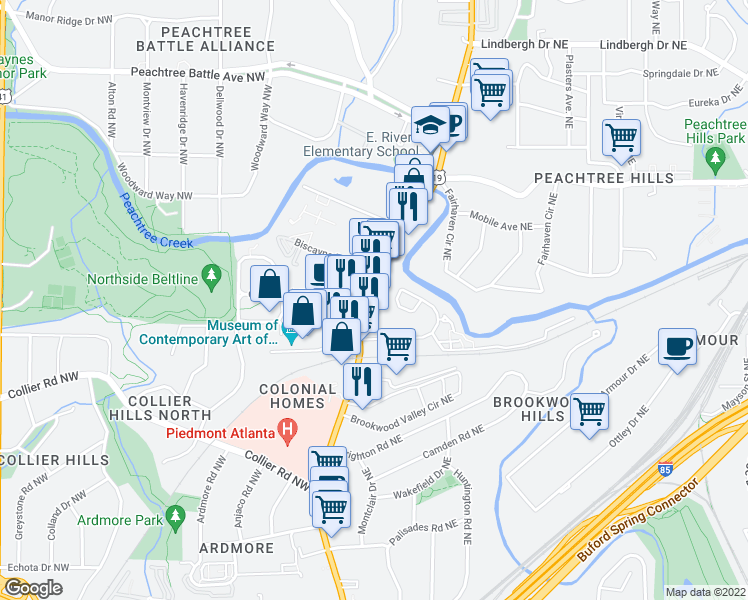 map of restaurants, bars, coffee shops, grocery stores, and more near 2151 Peachtree Road Northeast in Atlanta