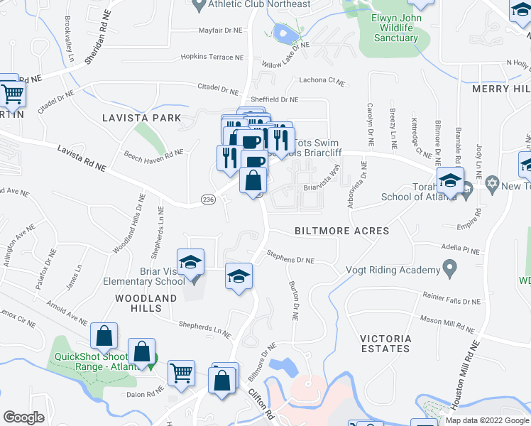 map of restaurants, bars, coffee shops, grocery stores, and more near Briarcliff Rd NE & Southland Vista Ct NE in North Druid Hills