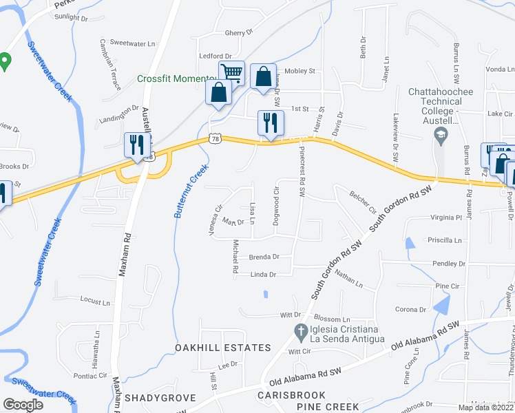map of restaurants, bars, coffee shops, grocery stores, and more near 5734 Dogwood Circle in Austell