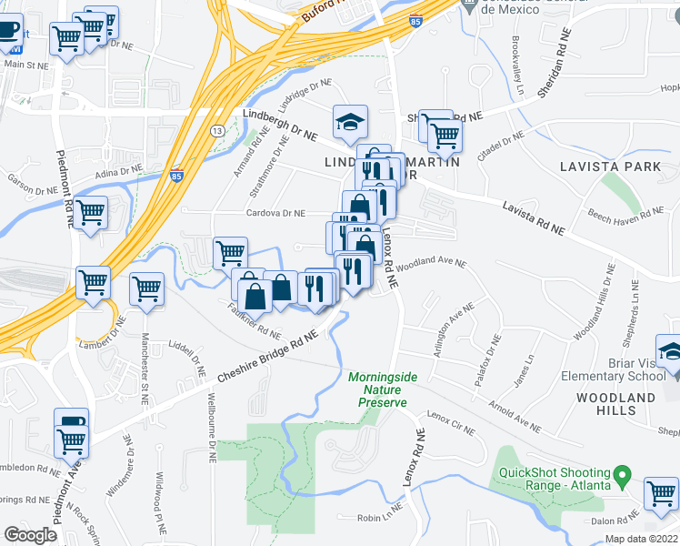 map of restaurants, bars, coffee shops, grocery stores, and more near 2184 Cheshire Bridge Road in Atlanta