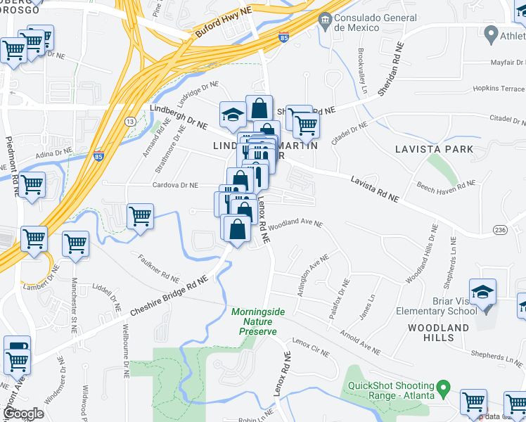 map of restaurants, bars, coffee shops, grocery stores, and more near 2201-2255 Cheshire Bridge Rd in Atlanta